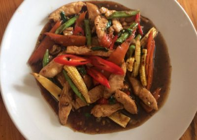 Pad Kapraw with Chicken