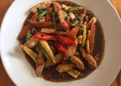 Pad Kapraw with Chicken